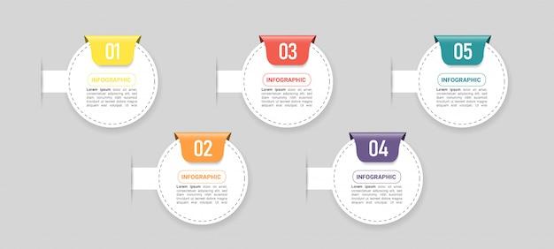 Elemento di business infografica con 5 opzioni.