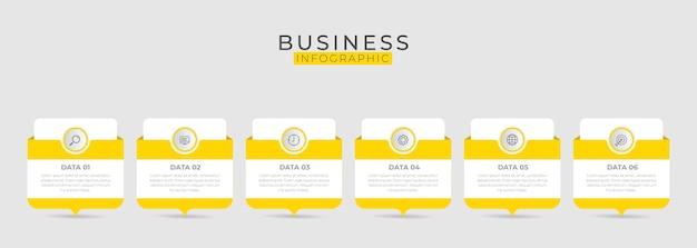 Elemento di business infografica con 6 opzioni, passaggi, modello di numero di design
