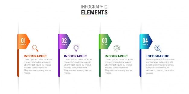 Elementi infographic di affari progettano icone 4 opzioni o passaggi