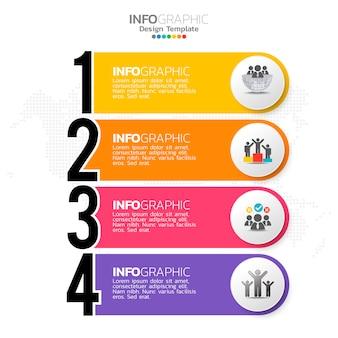 Elementi di infografica aziendale con 4 opzioni o passaggi tema blu.