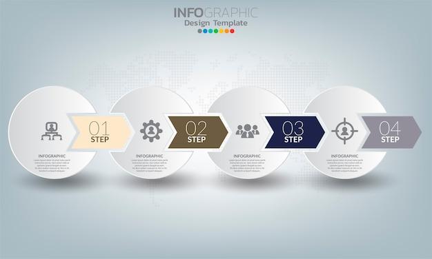 Elementi di infografica aziendale con 4 opzioni o passaggi.