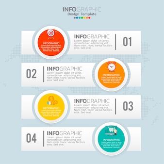 Elementi di infografica aziendale con 4 opzioni o passaggi