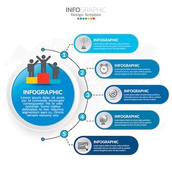 Elementi di infografica aziendale con 5 opzioni o passaggi tema blu.