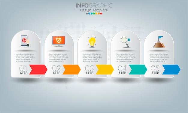 Elementi di infografica aziendale con 5 opzioni o passaggi