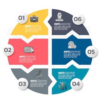 Elementi di infografica aziendale con 6 opzioni o passaggi.