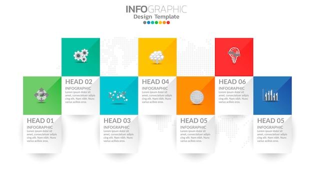 Elementi di infografica aziendale con 7 opzioni o passaggi.