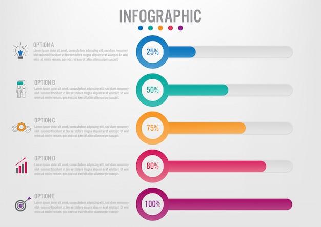 Modello di etichette di affari infographic con opzioni