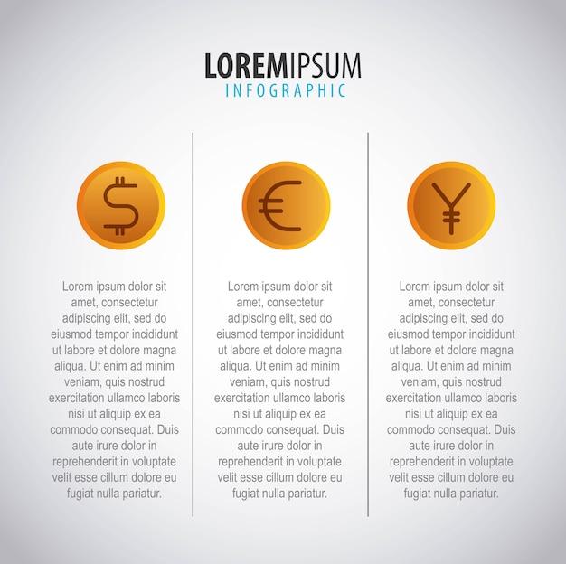 Affari infografica fatta di monete dollaro euro yen valuta