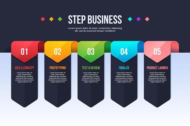 Modello di passaggi infographic di affari