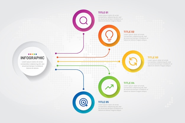 Passaggi di infografica aziendale con design colorato