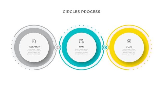 Modello di infografica aziendale progettazione di cerchi con freccia e 3 opzioni