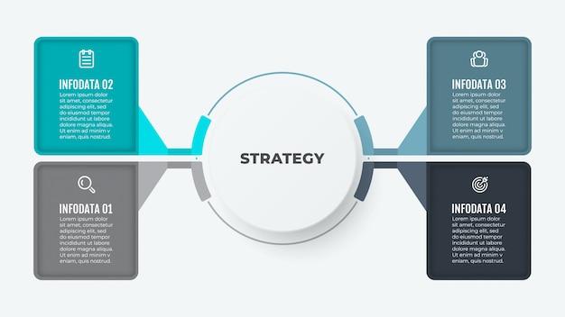 Modello di business infografica. progettazione creativa degli elementi del diagramma con carta. vettore con icone e 4 opzioni o passaggi.