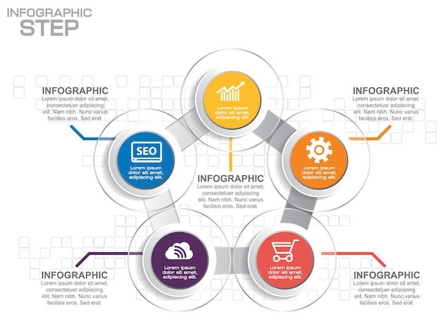 Modello di business infografica. visualizzazione dati. può essere utilizzato per layout del flusso di lavoro, numero di opzioni, passaggi, diagramma, grafico, presentazione, grafico e web design.