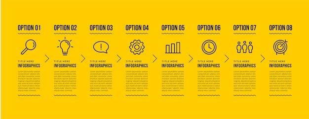 Modello di infografica aziendale con 8 opzioni, concetto di passaggi di visualizzazione dei dati aziendali, stile di icone di linea sottile su sfondo giallo