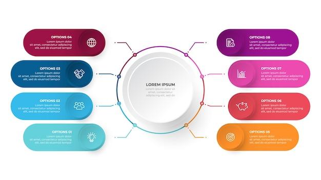 Modello di progettazione infografica aziendale con cerchi e icone di marketing concetto di visualizzazione dei dati con otto opzioni o passaggi
