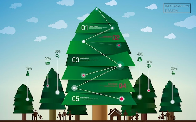 Progettazione del modello di infografica aziendale con elemento di alberi