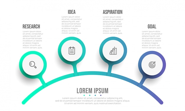Modello di business infografica. disegno del diagramma con icone e 4 opzioni o passaggi.