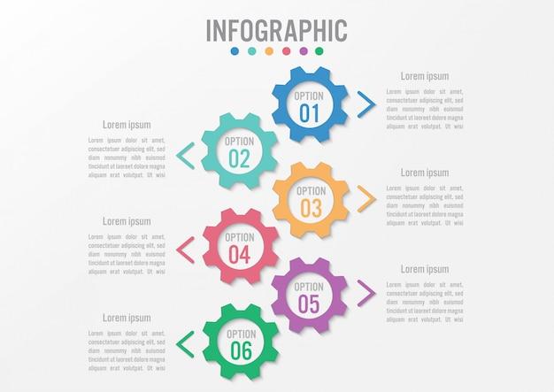 Forma di ingranaggio modello infografica di affari