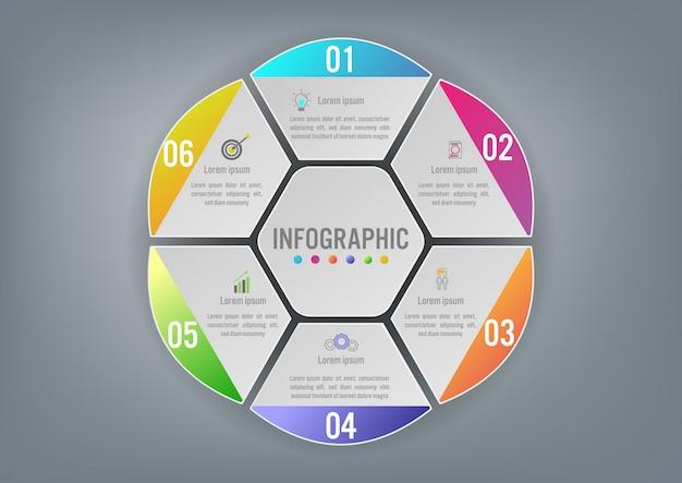 Forma esagonale del modello di business infographic