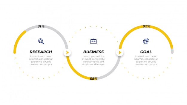 Progettazione di etichette modello di business infografica con icone.