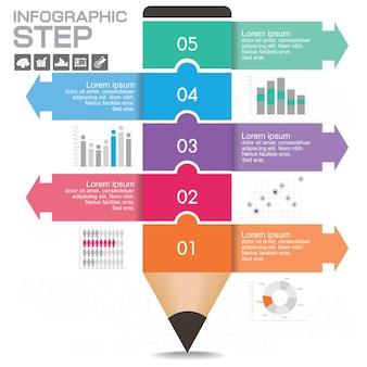 Layout del modello di infografica aziendale con illustrazione di matita colorata creativa.