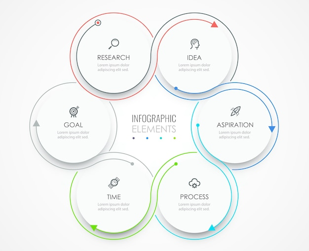 Modello di business infografica. design sottile con icone e 6 opzioni o passaggi.