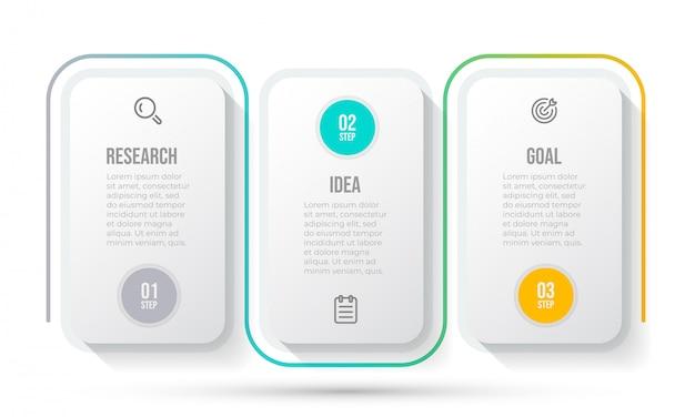 Modello di business infografica. cronologia con l'icona di marketing e 3 opzioni o passaggi.