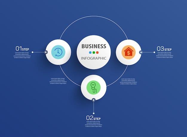 Modello di infografica aziendale con grafico di processo dei passaggi di 3 opzioni