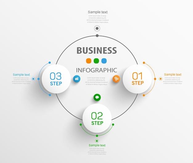Modello di infografica aziendale con 3 passaggi o opzioni