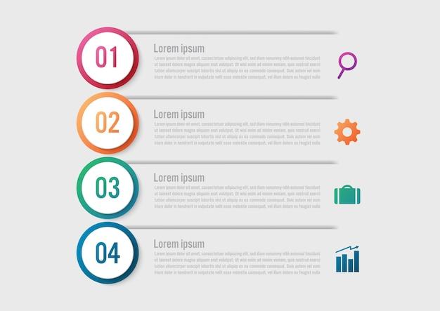 Modello di infographic di affari con una forma del cerchio di 4 opzioni