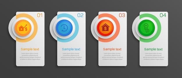 Modello di business infografica con 4 opzioni o passaggi