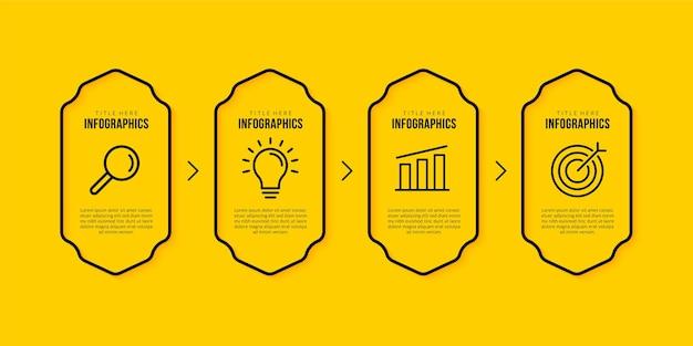 Modello di infografica aziendale con 4 opzioni di design di icone di linea sottile su sfondo giallo