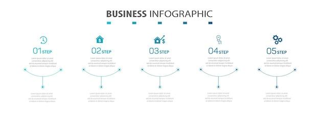 Modello di infografica aziendale con 5 opzioni o passaggi