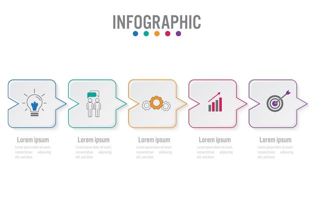 Modello di business infografica con 5 opzioni Vettore Premium