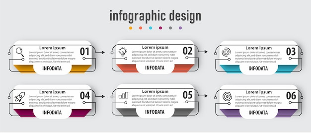 Modello di business infografica con 6 opzioni. vettore premium