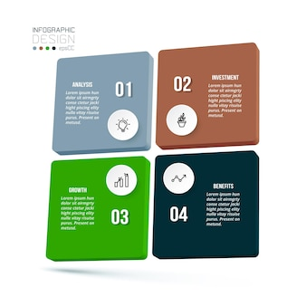 Modello di infografica aziendale con diagramma Vettore Premium