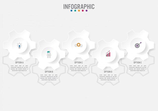 Modello di business infografica con cinque opzioni