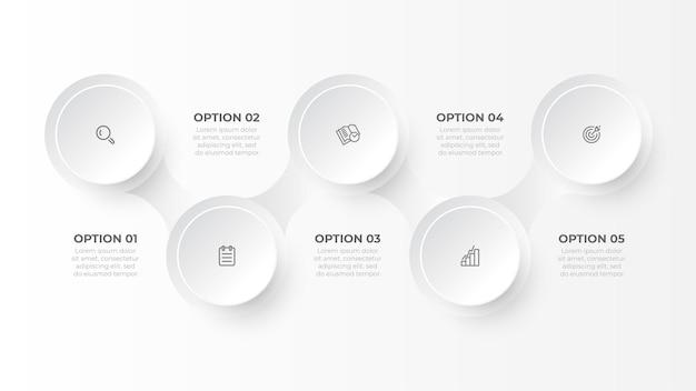 Modello di business infografica con cinque passaggi o opzioni design creativo con illustrazione di cerchi