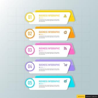 Modello di business infografica con cinque passaggi