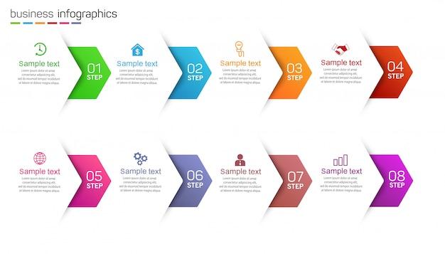 Modello di business infografica con icone e 8 opzioni o passaggi