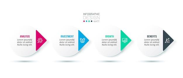 Modello di infografica aziendale con opzione Vettore Premium