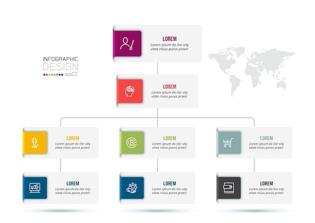 Modello di infografica aziendale con organizzazione