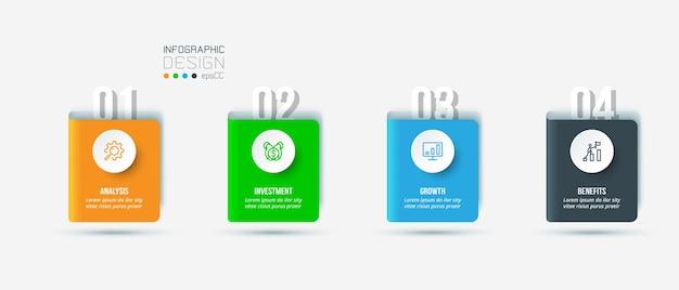 Modello di infografica aziendale con design a gradini o opzioni Vettore Premium