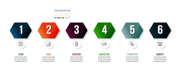 Modello di infografica aziendale con design a gradini o opzioni.