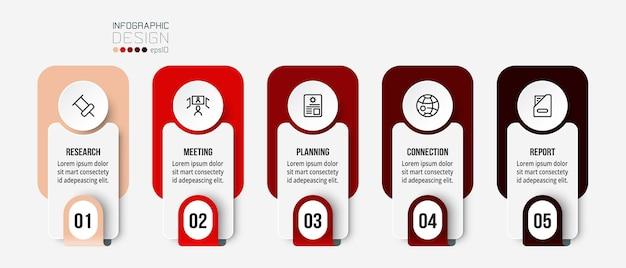 Modello di infografica aziendale con design di passaggi o opzioni