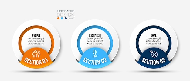 Modello di infografica aziendale con design di passaggi o opzioni Vettore Premium