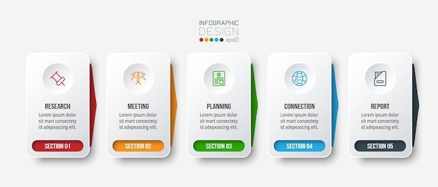 Modello di infografica aziendale con passaggio o opzioni