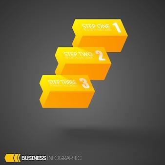 Modello di business infografica con tre passaggi Vettore Premium
