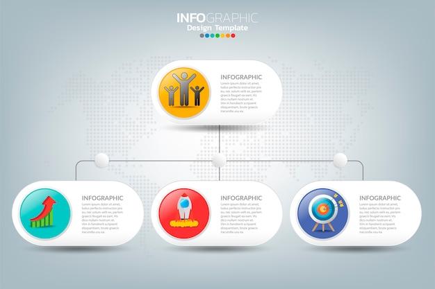 Cronologia di affari infografica come successo con opzioni e icone.