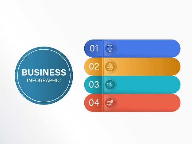 Layout del modello di timeline infografica aziendale con quattro opzioni e spazio di copia.